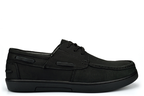 Helmsman Mens Real Suede Leather Boat Shoes Black