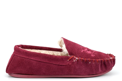 Four Seasons Womens Nakita Real Leather Suede Moccasin Slippers With Faux Fur Lining Burgundy