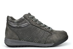 Laura Berg Womens Hi Top Trainers With Comfort Insole And Diamante Detail Grey