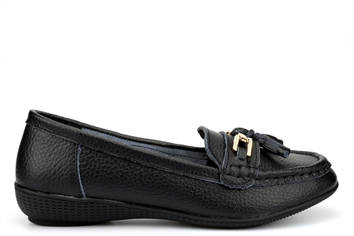 Dr Lightfoot Womens Real Leather Loafers With Tassel Detail Black