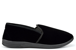 Zedzzz Mens Twin Gusset Slip On Extra Large Slippers With Soft Velour Upper Black