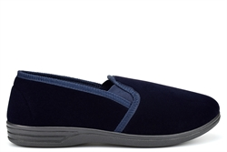 Zedzzz Mens Twin Gusset Slip On Extra Large Slippers With Soft Velour Upper Navy Blue