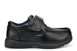 US Brass TED Boys School Shoes With Single Touch Fastening Strap Black