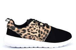Select Sports Girls/Womens Lightweight Lace Trainers With Breathable Leopard Print Upper Black/White