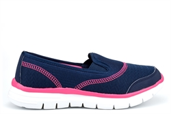 Dek Womens Super Light Weight Comfort Leisure Slip On Shoes Navy/Fuchsia
