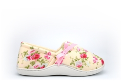 Sleep Boutique Womens Wide Fit Slip On Slippers With Floral Print Cream (E Fitting)