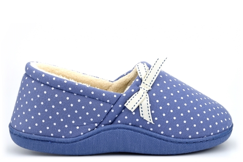 Sleep Boutique Womens Wide Fit Slippers With Bow Detail Blue (E Fitting)