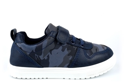 Steps Boys Camouflage Touch Fastening Trainers With Elasticated Lace Navy Blue