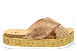 Krush Womens Crossover Diamante Espadrille Mule Sandals Gold