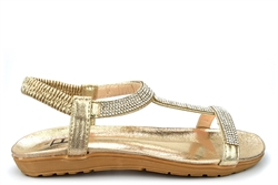 Shoes By Emma Womens Diamante Sandals With Cushioned Insole Gold