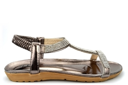 Shoes By Emma Womens Diamante Sandals With Cushioned Insole Pewter