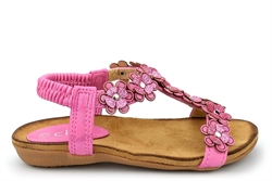 Chix Girls Flower Sandals With Elasticated Back Strap Pink