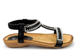 Chix Girls Diamante Sandals With Comfort Insole Black
