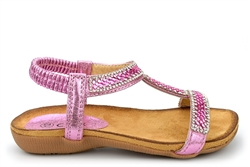 Chix Girls Diamante Sandals With Comfort Insole Pink
