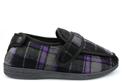 Jo & Joe Mens Extra Large Wide Fit Slippers With Wide Opening Black/Purple