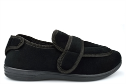 Jo & Joe Mens Extra Large Wide Fit Slippers With Wide Opening Black