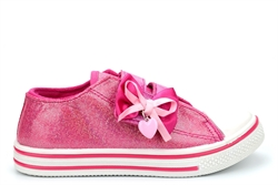 Girls Glitter Pumps With Ribbon Bow and Heart Detail Fuchsia