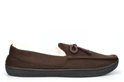 Mens Lightweight Moccasin Slippers With Soft Insole Brown