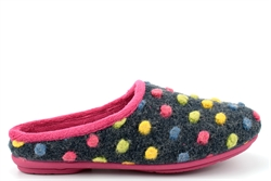 Sleepers Womens AMY Knitted Textile Memory Mule Slippers Fuchsia/Multi