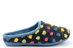 Sleepers Womens AMY Knitted Textile Memory Mule Slippers Blue/Multi