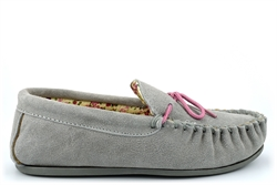 Mokkers Womens LILY Suede Moccasin Slippers Handcrafted Genuine Suede Grey