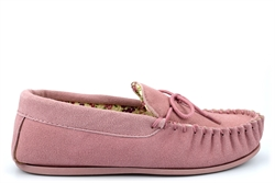 Mokkers Womens LILY Suede Moccasin Slippers Handcrafted Genuine Suede Pink
