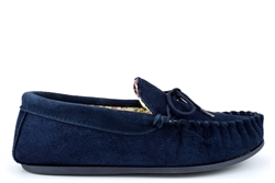 Mokkers Womens LILY Suede Moccasin Slippers Handcrafted Genuine Suede Navy