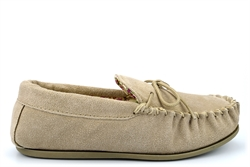 Mokkers Womens LILY Suede Moccasin Slippers Handcrafted Genuine Suede Stone