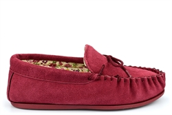 Mokkers Womens LILY Suede Moccasin Slippers Handcrafted Genuine Suede Red