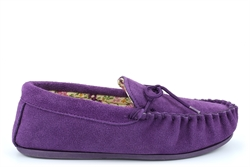 Mokkers Womens LILY Suede Moccasin Slippers Handcrafted Genuine Suede Purple