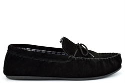 Mokkers Mens BRUCE Extra Large Genuine Suede Moccasin Slippers Black