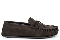 Mokkers Mens BRUCE Extra Large Genuine Suede Moccasin Slippers Dark Brown