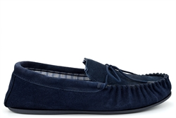 Mokkers Mens BRUCE Extra Large Genuine Suede Moccasin Slippers Navy