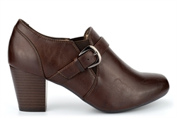 Boulevard Womens Block Heeled Gusset Slip On Shoes With Comfort Insole Brown