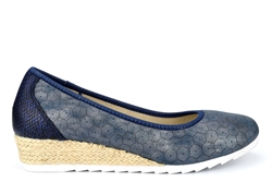 Cipriata Womens Wedge Heel Casual Shoes With Microfibre Lining Blue Metallic