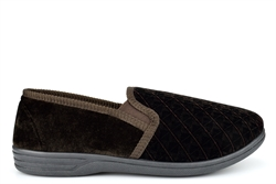 Zedzzz Mens Twin Gusset Slip On Slippers With Extra Large Sizes Brown