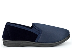 Zedzzz Mens LEWIS Twin Gusset Slip On Slippers With Extra Large Sizes Navy
