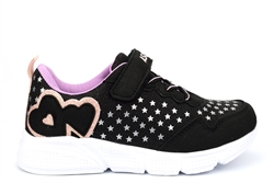 Ascot Girls Touch Fastening Glitter Trainers With Elasticated Lace Black/Pink/Lilac