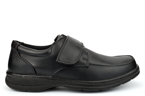 Easy Feet Mens Lightweight Touch Fastening Casual Shoes With Padded Collar For Comfort Black