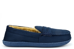 Response Mens Ultra Light Fur Lined Moccasin Slippers Navy