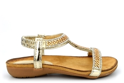 Chix Girls Diamante Sandals With Comfort Insole Gold