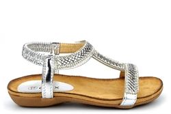 Chix Girls Diamante Sandals With Comfort Insole Silver