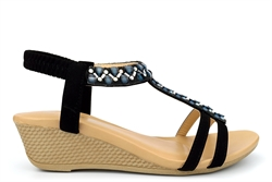 Maya Grace Womens Diamante Slip On Wedge Sandals With Padded Insole Black