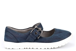 Cipriata Womens FLORENCE Buckle Bar Casual Shoes With Super Comfort Lining And Insole Navy Blue