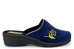 Shoe Tree Womens Wedge Heel Mule Slippers With Flower Embroidery Detail Navy