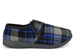 Jo & Joe Mens Wide Fit Touch Fastening Slippers large Size 12 and 13 Black/Grey/Blue