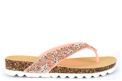Shoes By Emma Womens High Sparkle Toe Post Sandals Pink