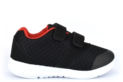 Ascot Boys BIRD Lightweight Touch Fastening Trainers Black/Red/White