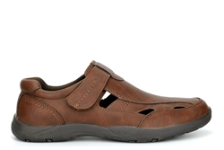 Scimitar Mens Touch Fastening Closed Toe Sandals With Padded Collar Brown