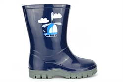 StormWells Boys HELICOPTER Waterproof Wellington Boots With Textile Lining Navy Blue/Grey
